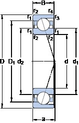 20 mm x 42 mm x 12 mm  SKF 7004 CD/P4A Duplex angular contact ball bearings